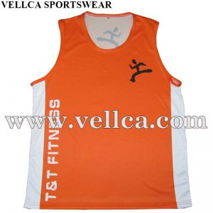 100% Polyester Dri Fit Custom Men Running Singlets