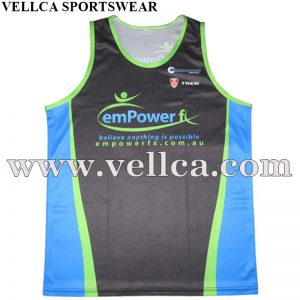 Custm Sublimated Polyester Custom Running Singlets