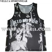 Wholesale 100% Polyester Gym Singlet Vests Custom Logos Printed